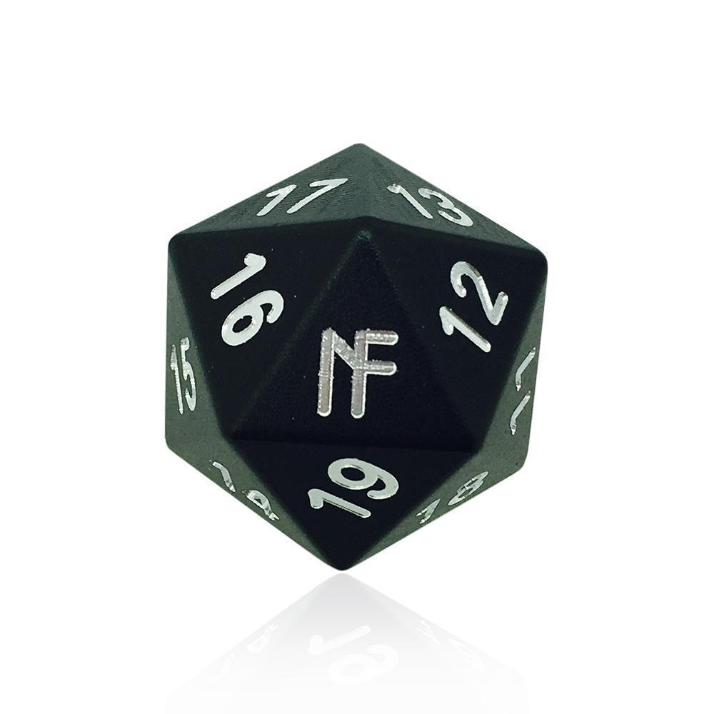 Jokester High Single Aluminum D20 Cheat Die in Black by Norse Foundry-Dice-Norse Foundry-DND Dice-Polyhedral Dice-D20-Metal Dice-Precision Dice-Luxury Dice-Dungeons and Dragons-D&D-