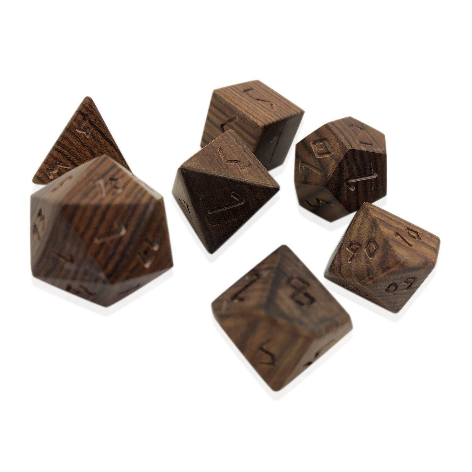 Madagascar Rosewood - 7 Piece RPG Wooden Dice Set-Dice-Norse Foundry-DND Dice-Polyhedral Dice-D20-Metal Dice-Precision Dice-Luxury Dice-Dungeons and Dragons-D&D-