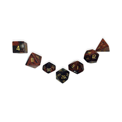 Mahogany Obsidian 7 Piece RPG Dice Set Gemstone-Gemstone Dice-Norse Foundry-DND Dice-Polyhedral Dice-D20-Metal Dice-Precision Dice-Luxury Dice-Dungeons and Dragons-D&D-