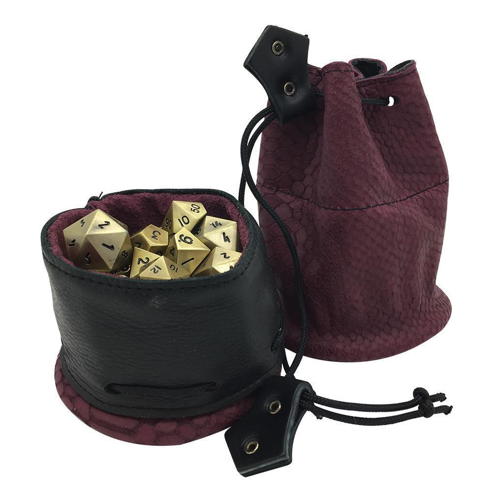 Maroon and Black Dragon Scale Leather Dice Bag / Dice Cup Transformer-Leather Dice Bag-Norse Foundry-DND Dice-Polyhedral Dice-D20-Metal Dice-Precision Dice-Luxury Dice-Dungeons and Dragons-D&D-