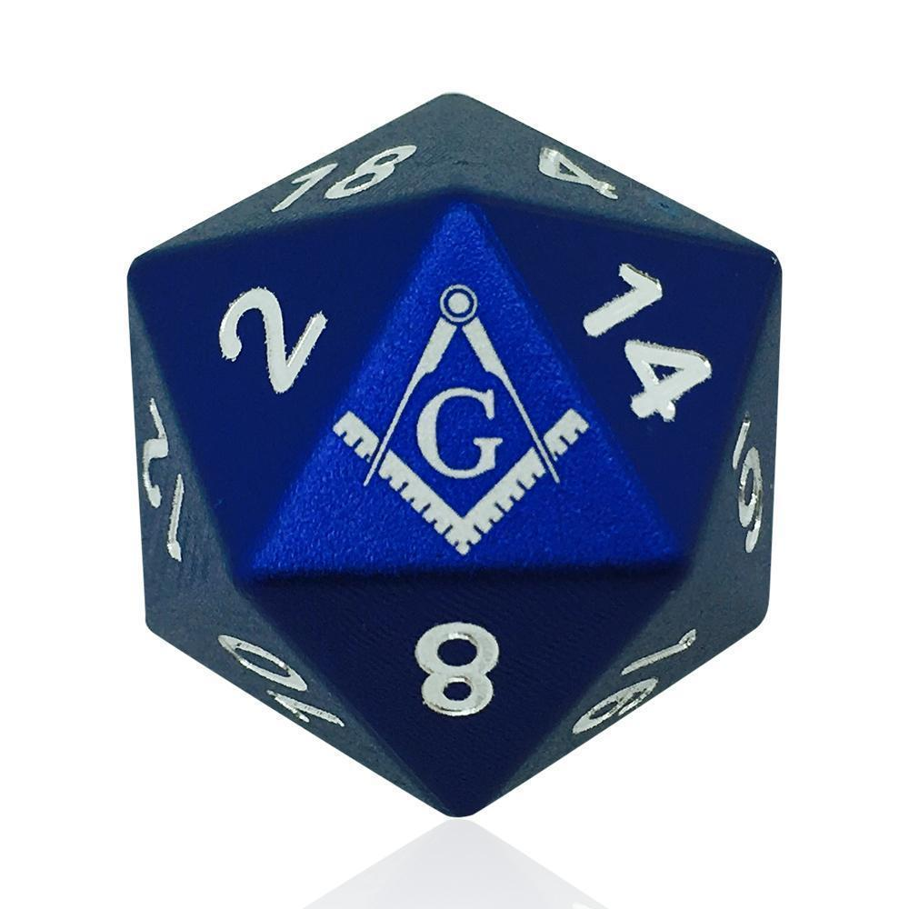 Masonic D20 6061 Aircraft Grade Aluminum-Dice-Norse Foundry-DND Dice-Polyhedral Dice-D20-Metal Dice-Precision Dice-Luxury Dice-Dungeons and Dragons-D&D-