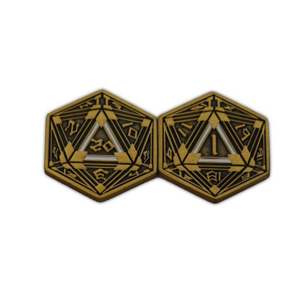 Metal RPG Crit/Fail Coin Gold Plated-25mm-Coins-Norse Foundry-DND Dice-Polyhedral Dice-D20-Metal Dice-Precision Dice-Luxury Dice-Dungeons and Dragons-D&D-