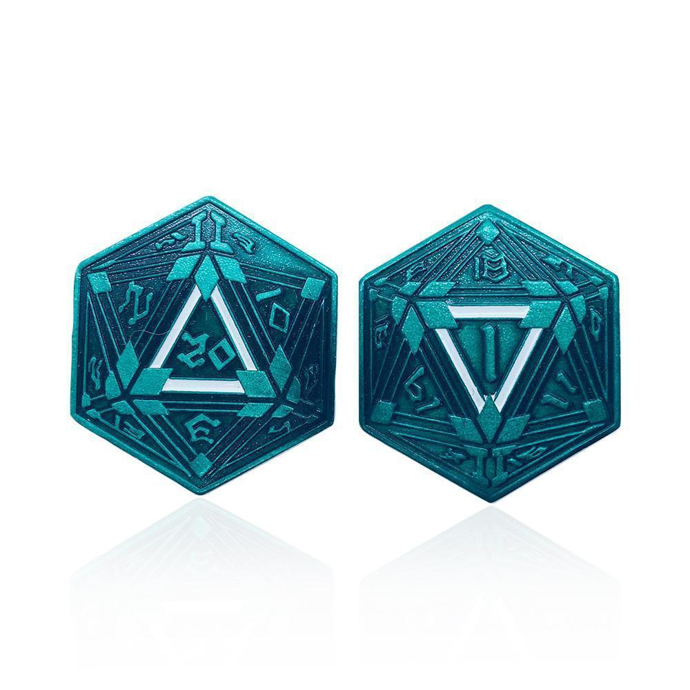 Metal RPG Crit/Fail Coin Green Plated-25mm-Coins-Norse Foundry-DND Dice-Polyhedral Dice-D20-Metal Dice-Precision Dice-Luxury Dice-Dungeons and Dragons-D&D-