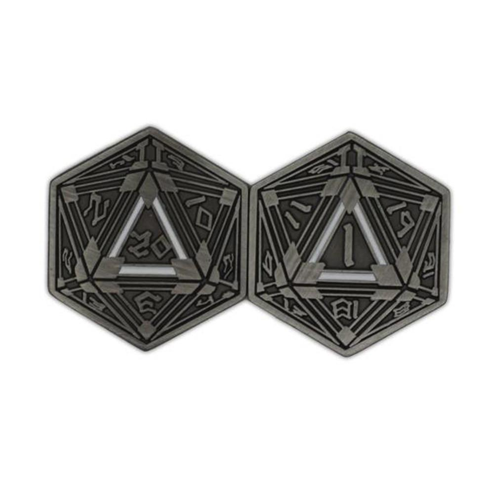 Metal RPG Crit/Fail Coin Silver Plated-25mm-Coins-Norse Foundry-DND Dice-Polyhedral Dice-D20-Metal Dice-Precision Dice-Luxury Dice-Dungeons and Dragons-D&D-