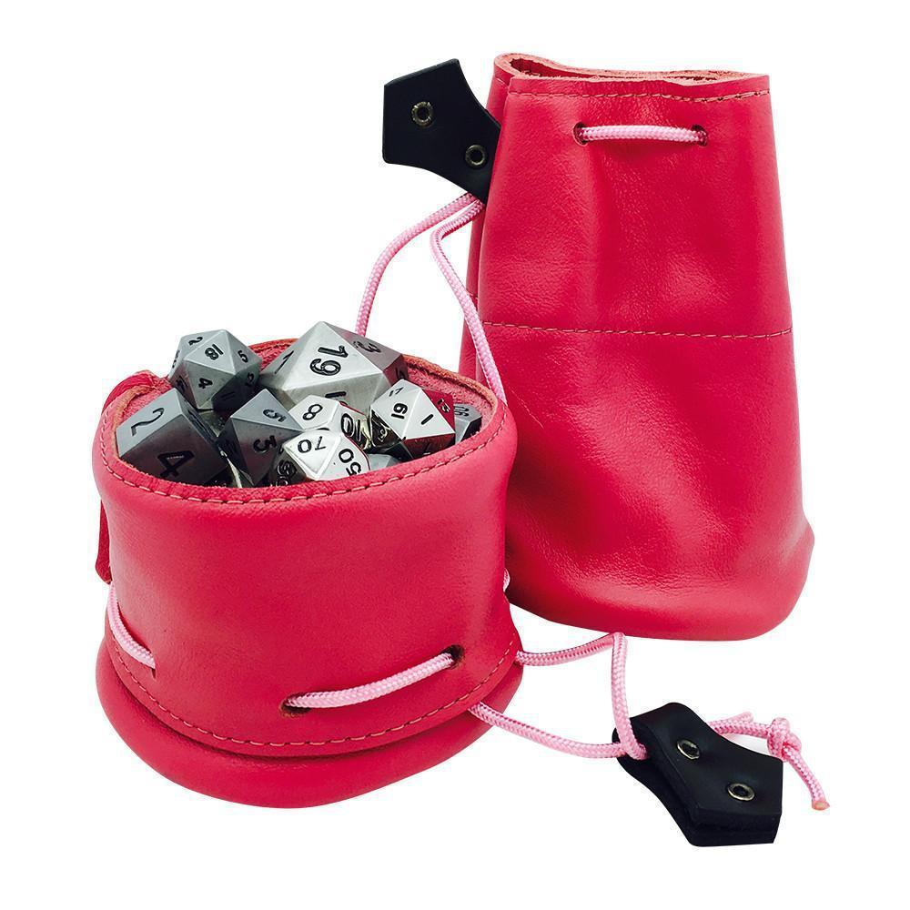 Pink Leather Dice Bag / Dice Cup Transformer-Leather Dice Bag-Norse Foundry-DND Dice-Polyhedral Dice-D20-Metal Dice-Precision Dice-Luxury Dice-Dungeons and Dragons-D&D-