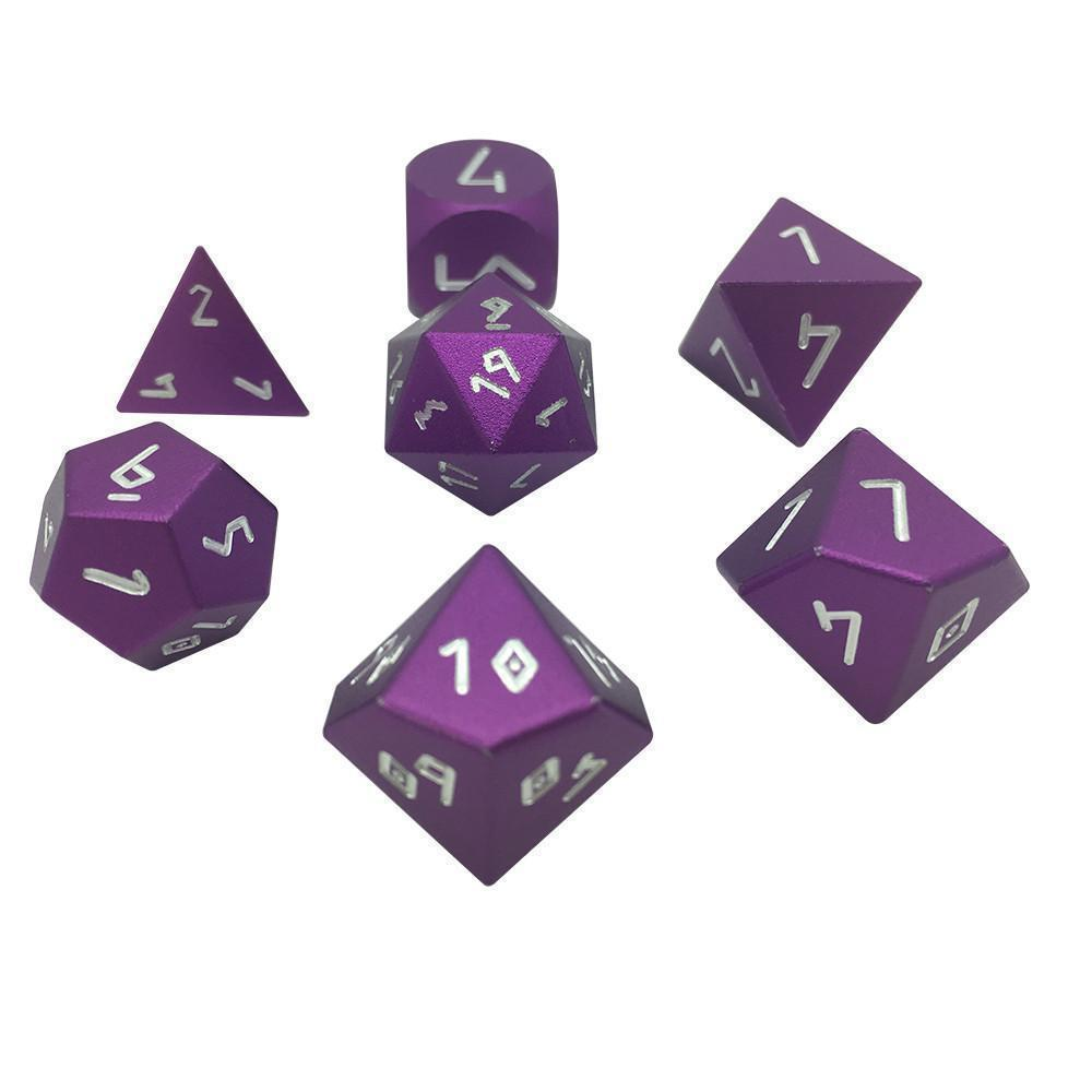 Precision CNC Aluminum Dice Set Norse Fount - Lich Purple-Aluminum Dice-Norse Foundry-DND Dice-Polyhedral Dice-D20-Metal Dice-Precision Dice-Luxury Dice-Dungeons and Dragons-D&D-