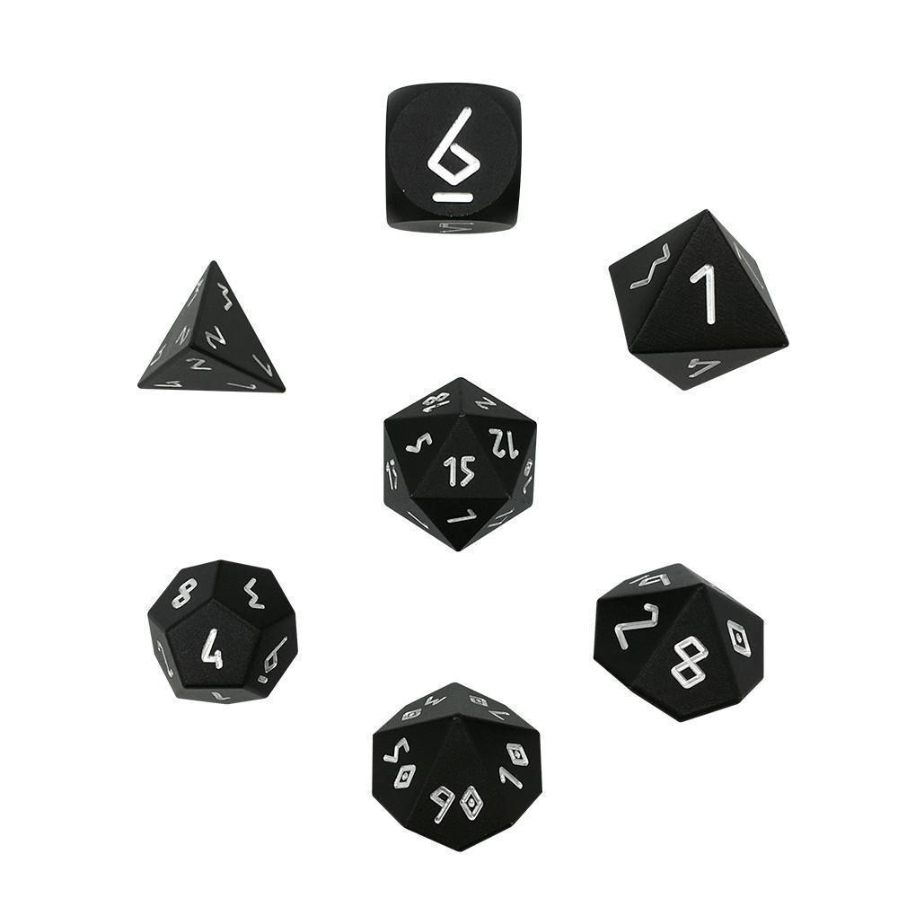 Precision CNC Aluminum Dice Set Norse Fount - Night Black-Aluminum Dice-Norse Foundry-DND Dice-Polyhedral Dice-D20-Metal Dice-Precision Dice-Luxury Dice-Dungeons and Dragons-D&D-