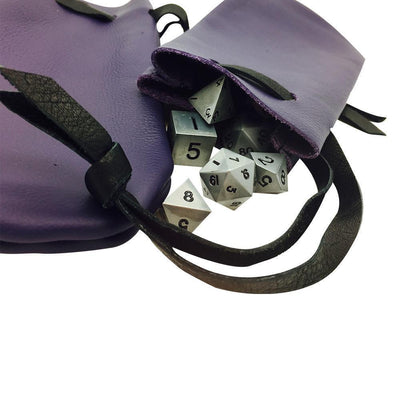 Purple Leather Dice Bag-Leather Dice Bag-Norse Foundry-DND Dice-Polyhedral Dice-D20-Metal Dice-Precision Dice-Luxury Dice-Dungeons and Dragons-D&D-