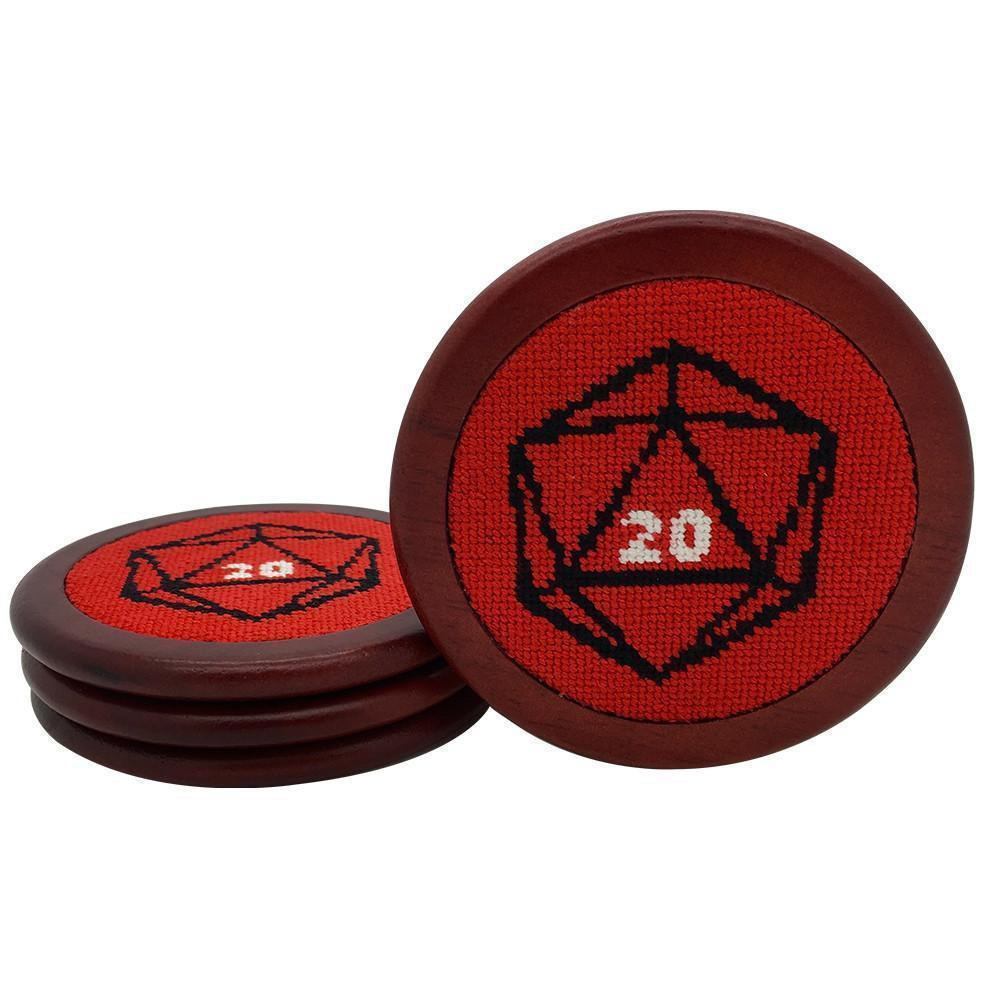 Red D20 Wooden Coasters RPG Needlepoint-Accessories-Norse Foundry-DND Dice-Polyhedral Dice-D20-Metal Dice-Precision Dice-Luxury Dice-Dungeons and Dragons-D&D-