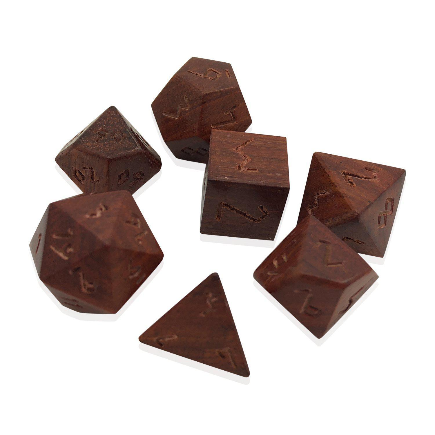 Red Sandalwood - 7 Piece RPG Wooden Dice Set-Dice-Norse Foundry-DND Dice-Polyhedral Dice-D20-Metal Dice-Precision Dice-Luxury Dice-Dungeons and Dragons-D&D-