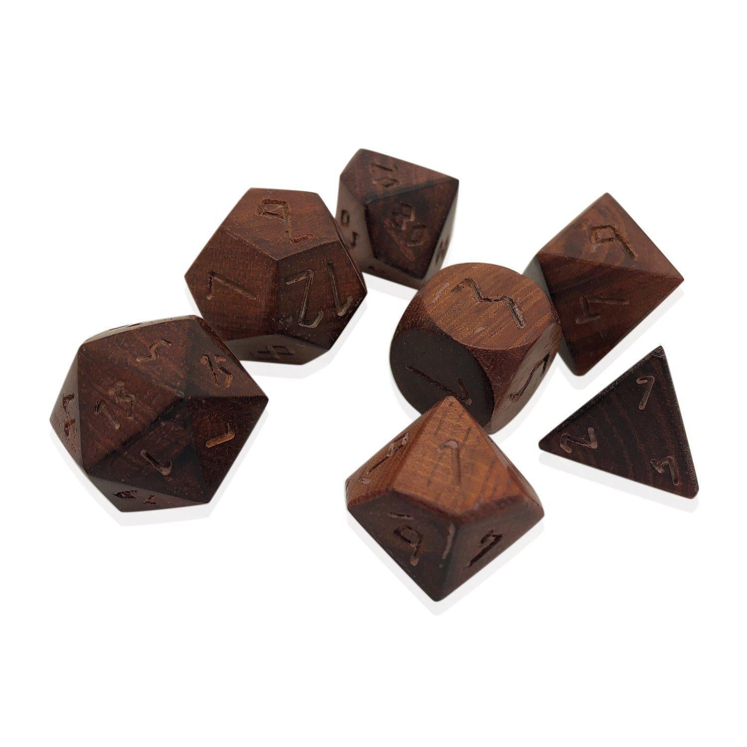 Rengas Tiger - 7 Piece RPG Wooden Dice Set-Dice-Norse Foundry-DND Dice-Polyhedral Dice-D20-Metal Dice-Precision Dice-Luxury Dice-Dungeons and Dragons-D&D-