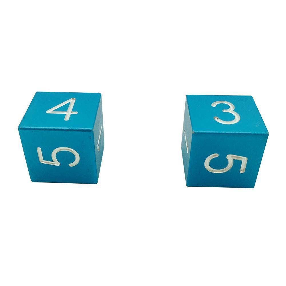 Sea Teal - Pair of Precision CNC Aluminum Dice D6's with Sharp Corners-Dice-Norse Foundry-DND Dice-Polyhedral Dice-D20-Metal Dice-Precision Dice-Luxury Dice-Dungeons and Dragons-D&D-