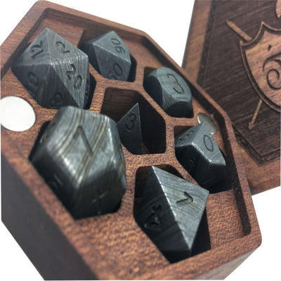 Set of 7 Damascus Steel RPG Dice by Norse Foundry Polyhedral Dice Set-Dice-Norse Foundry-DND Dice-Polyhedral Dice-D20-Metal Dice-Precision Dice-Luxury Dice-Dungeons and Dragons-D&D-
