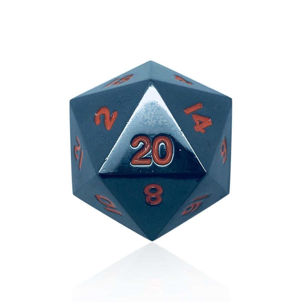 Single Alloy D20 in Black Lava by Norse Foundry-Dice-Norse Foundry-DND Dice-Polyhedral Dice-D20-Metal Dice-Precision Dice-Luxury Dice-Dungeons and Dragons-D&D-