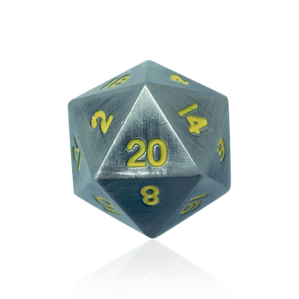 Single Alloy D20 in Blacksmith Anvil by Norse Foundry-Dice-Norse Foundry-DND Dice-Polyhedral Dice-D20-Metal Dice-Precision Dice-Luxury Dice-Dungeons and Dragons-D&D-
