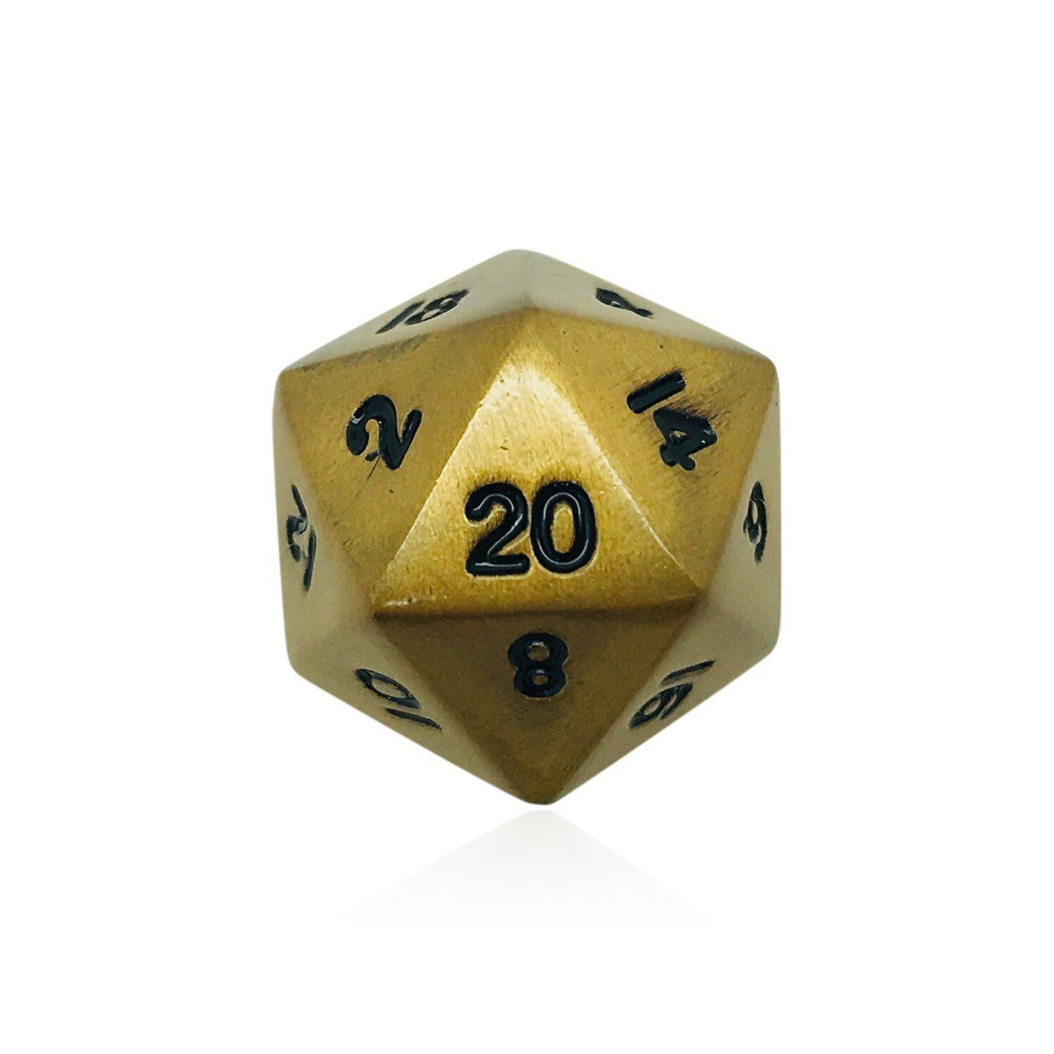 Single Alloy D20 in Dragons Gold by Norse Foundry-Dice-Norse Foundry-DND Dice-Polyhedral Dice-D20-Metal Dice-Precision Dice-Luxury Dice-Dungeons and Dragons-D&D-