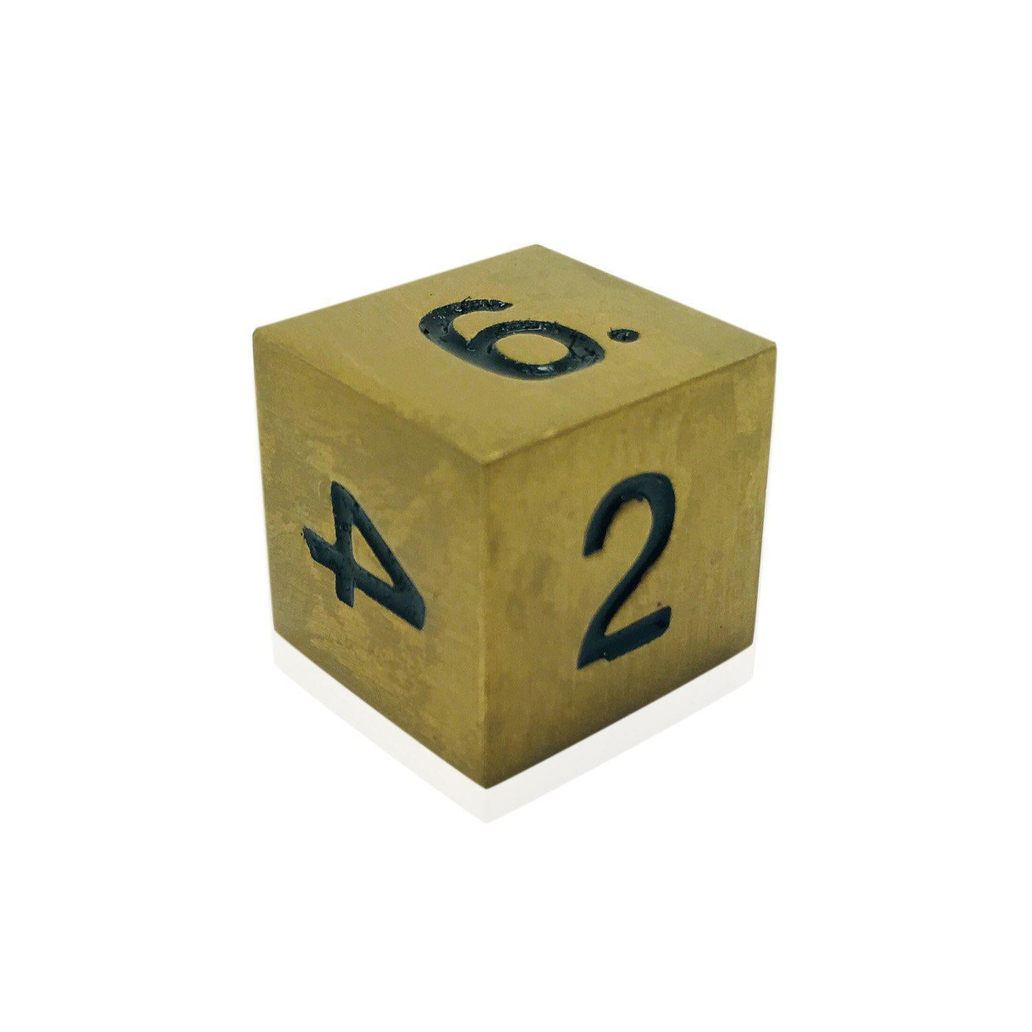 Single Alloy D6 in Dragons Gold by Norse Foundry-Dice-Norse Foundry-DND Dice-Polyhedral Dice-D20-Metal Dice-Precision Dice-Luxury Dice-Dungeons and Dragons-D&D-