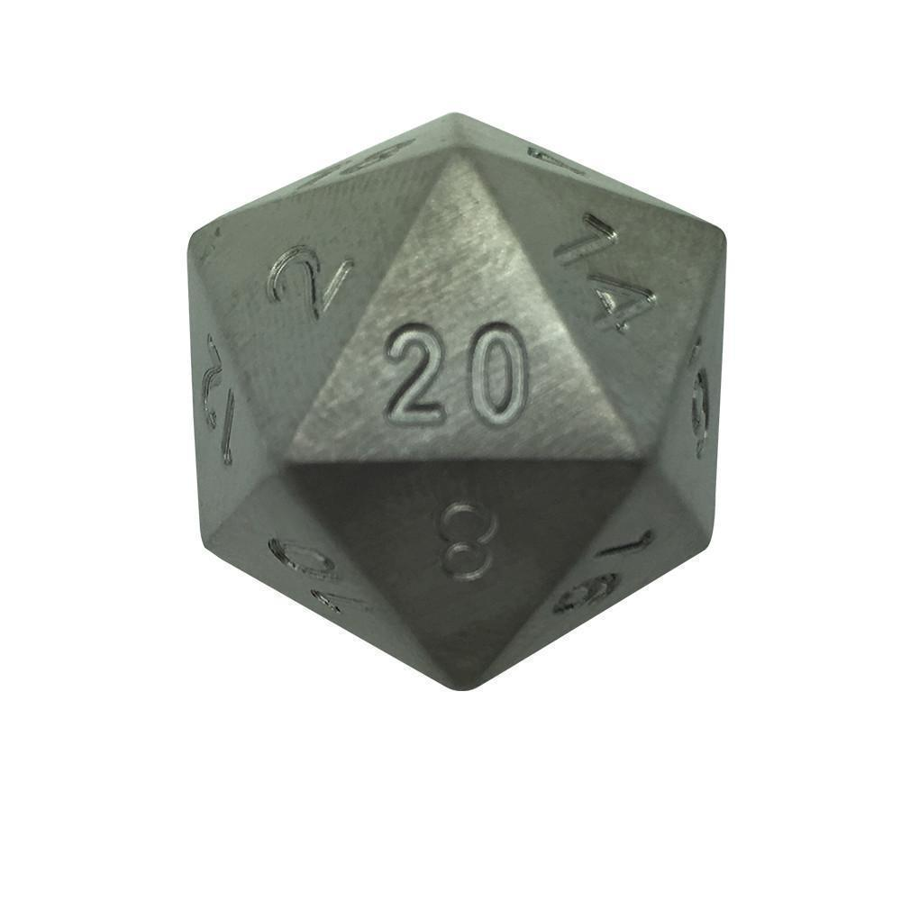 Single D20 in Tungsten by Norse Foundry-Dice-Norse Foundry-DND Dice-Polyhedral Dice-D20-Metal Dice-Precision Dice-Luxury Dice-Dungeons and Dragons-D&D-
