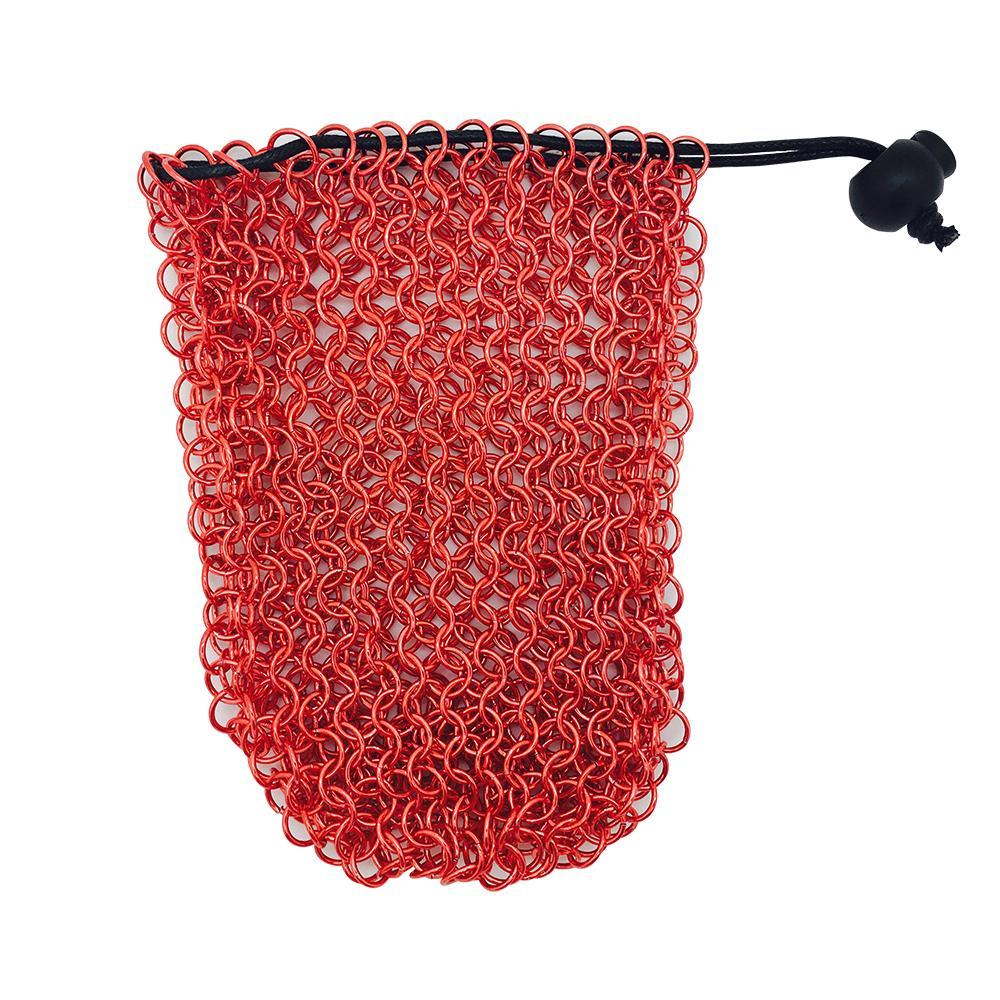 Stainless Steel Chainmail Dice Bag - Red by Norse Foundry-Norse Foundry-DND Dice-Polyhedral Dice-D20-Metal Dice-Precision Dice-Luxury Dice-Dungeons and Dragons-D&D-