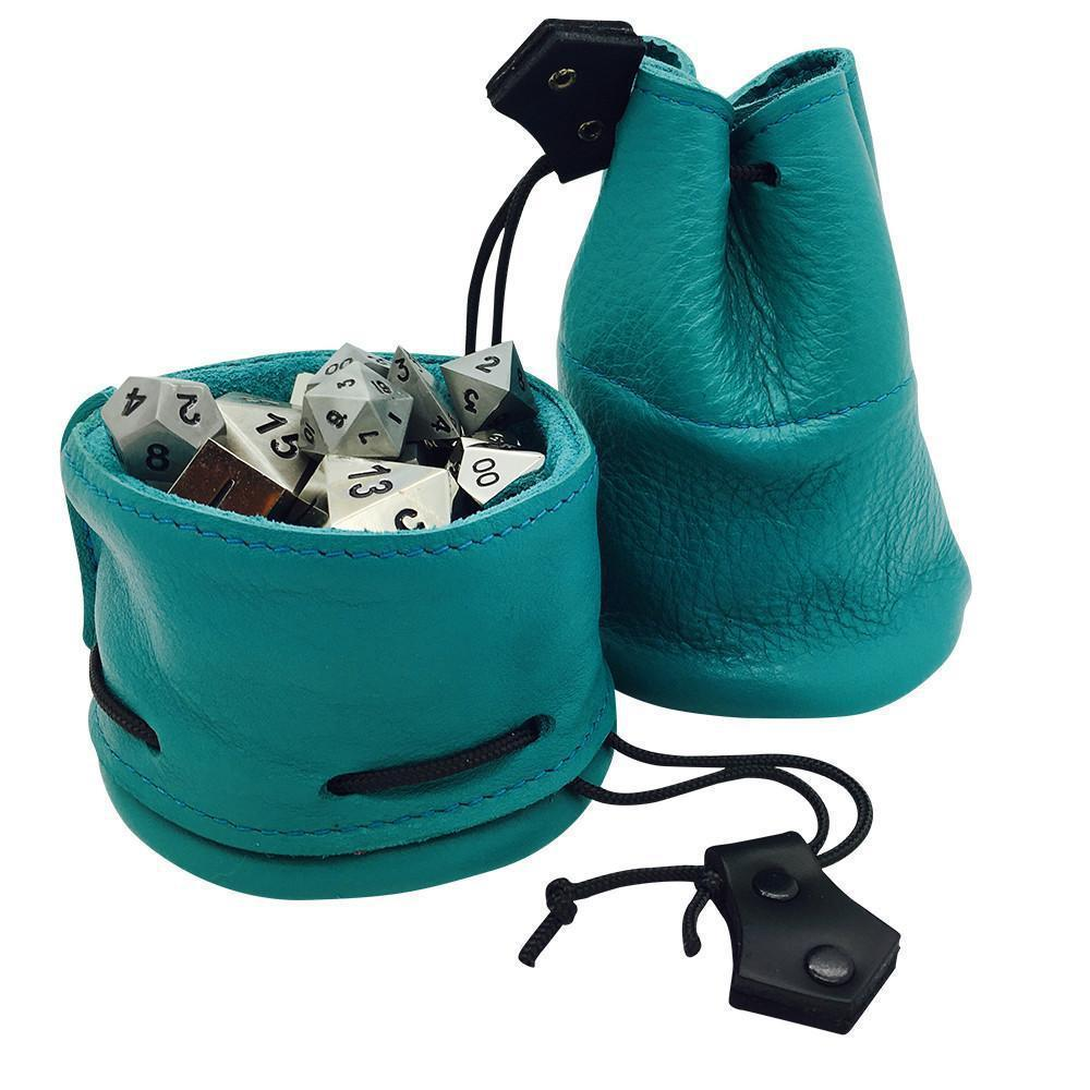 Teal Leather Dice Bag / Dice Cup Transformer-Leather Dice Bag-Norse Foundry-DND Dice-Polyhedral Dice-D20-Metal Dice-Precision Dice-Luxury Dice-Dungeons and Dragons-D&D-