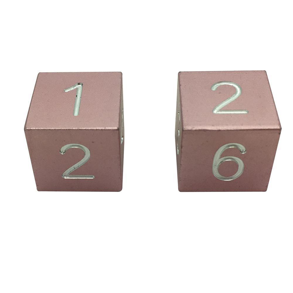 Warlock Pink - Pair of Precision CNC Aluminum Dice D6's with Sharp Corners-Dice-Norse Foundry-DND Dice-Polyhedral Dice-D20-Metal Dice-Precision Dice-Luxury Dice-Dungeons and Dragons-D&D-