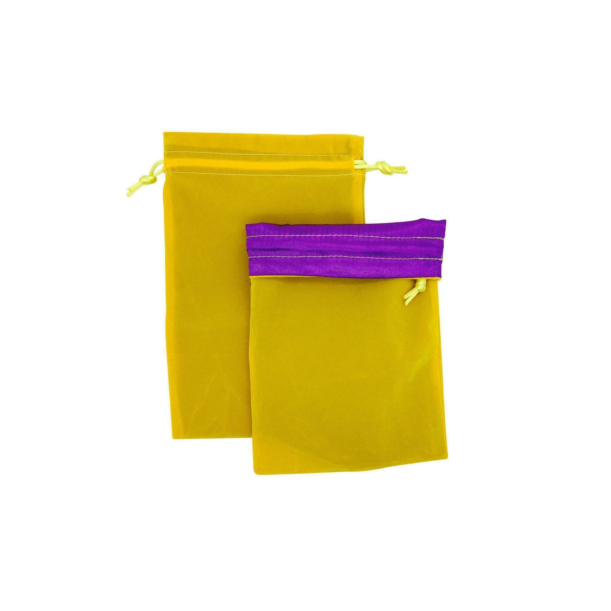 Yellow/Purple Dice Bag 5 x 7″ Velvet with Reinforced Treated Satin-Dice Bag-Norse Foundry-DND Dice-Polyhedral Dice-D20-Metal Dice-Precision Dice-Luxury Dice-Dungeons and Dragons-D&D-