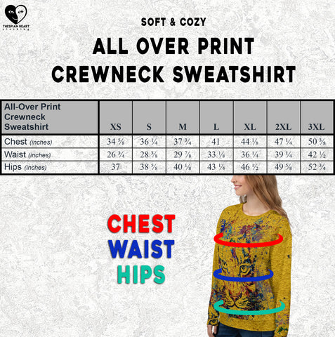Size Chart All Over Crewneck Sweatshirt Thespian Heart Clothing
