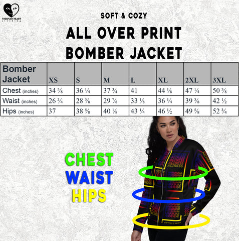 size chart all over print jacket Thespian Heart Clothing