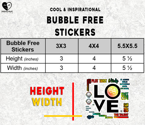 Size Chart Bubble Free Stickers Thespian Heart Clothing