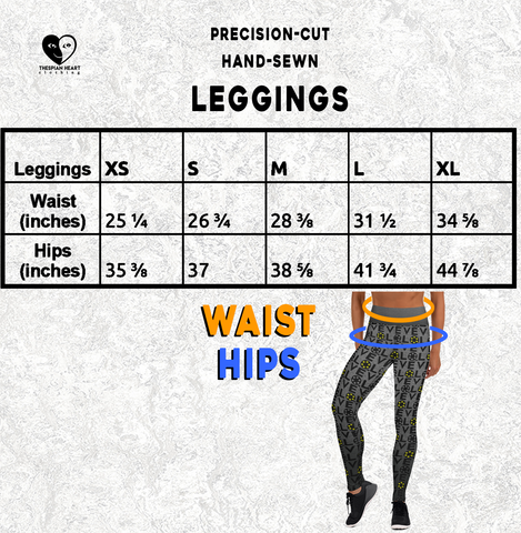 Leggings Size Chart Thespian Heart Clothing