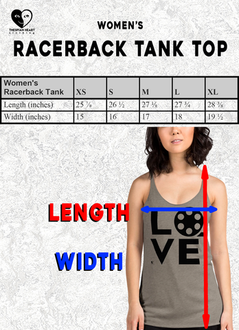 size chart racerback tank top Thespian Heart Clothing