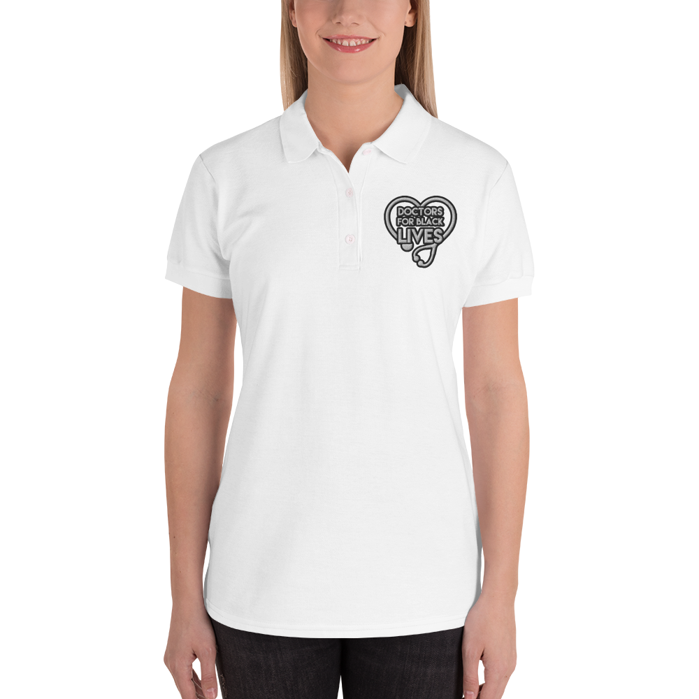 Doctors for Black Lives Embroidered Women's Polo Shirt