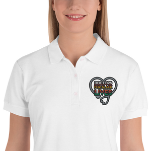 Doctors for Black Lives {Colorful} Embroidered Women's Polo Shirt
