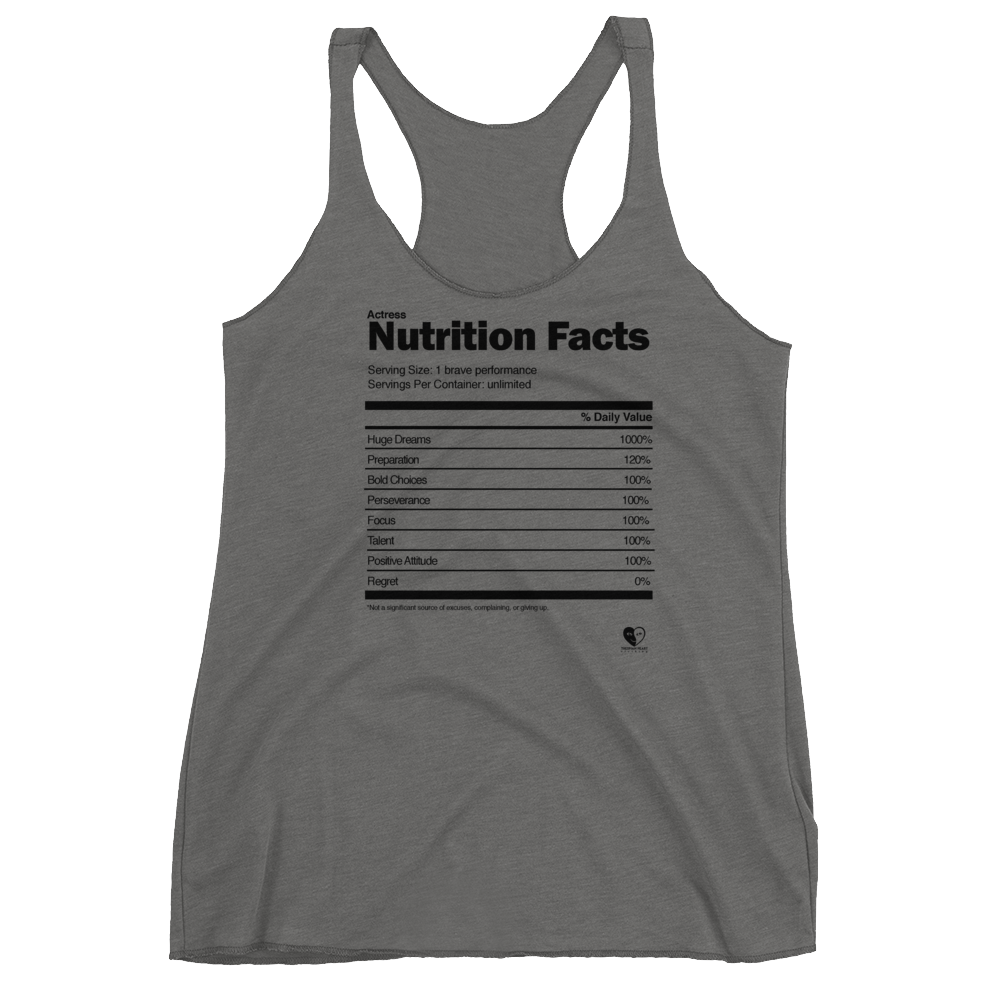 [Actress Nutrition Facts] Women's Racerback Tank - Thespian Heart Clothing