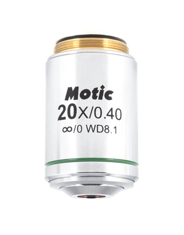 BA310MET Objective - LM Plan 20X / 0.4 (WD=8.1mm) - (1101001704601) - Motic Microscopes