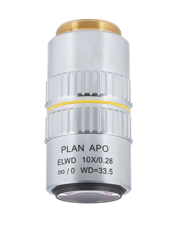 PSM-1000 Objective - Plan Apochromat ELWD 10X for PSM1000 - (1101001700032) - Motic Microscopes