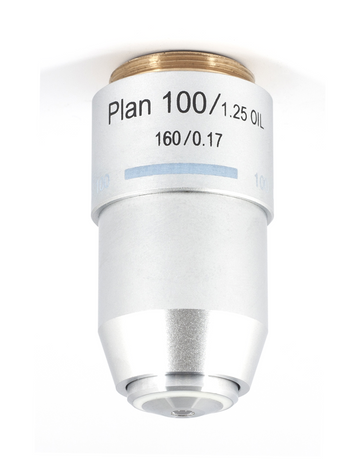 B3 Objective - Plan PL 100X / 1.25 / S - Oil - (1101001402162) - Motic Microscopes