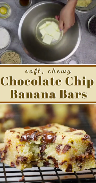 Chocolate Chip Banana Bars - Soft, Chewy Squares