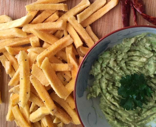 serve Oh! Naturals plant based Sweet potato Fries with a Herb Garlic Hummus