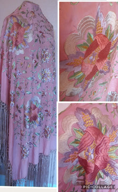 Antique Floral silk embroidery piano shawl wrap