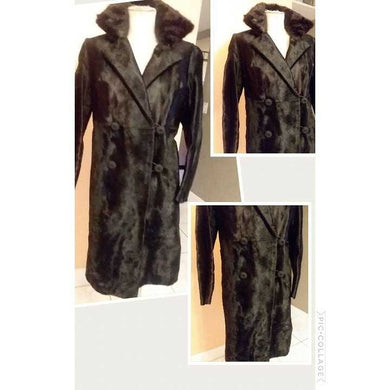 1960s Black Pony Hair Fur Coat Winter Mod Femme Fatale Jacket Vintage 60s with authentic mink collar best fit small / medium NEW LIKE CONDITION