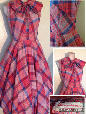 CLAIRE MCCARDELL VTG COTTON HUGE TIE COLLAR DRESS CIRCLE SKIRT MUSEUM PIECE