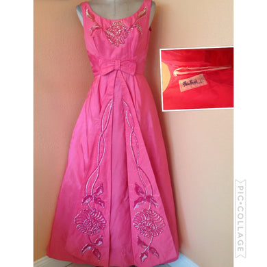 50s 60s Stunning Mike Benet Hot pink Princess Party wedding dress 3/4 5/6