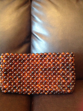 1950s Beaded Clutch Purse with lining Handmade Hong Kong 9X5