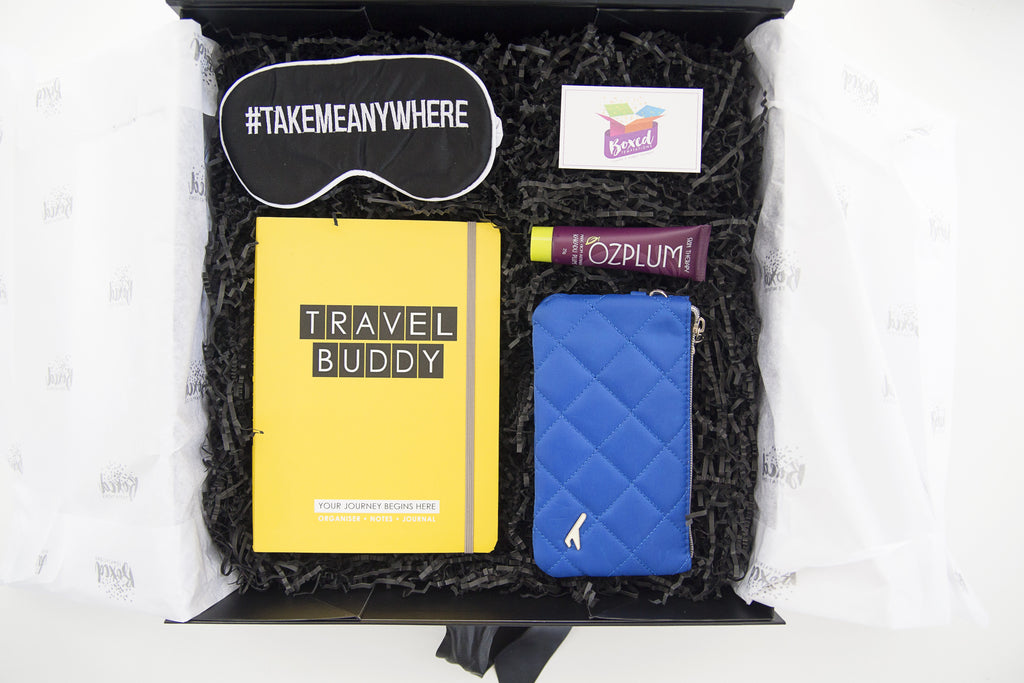 Travel planner, eye mask, travel wallet ozplum skin therapy, Boxed Temptations Limited Edition Box