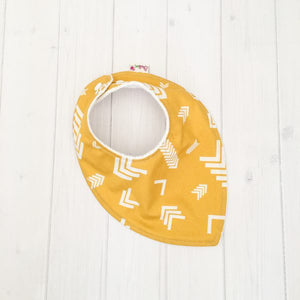 Mustard Arrows Dribble Bib Bamboo and Australian Made