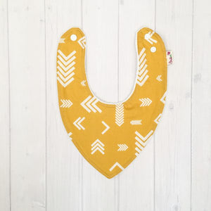 Bamboo / Terry Towelling Dribble bib mustard with arrows