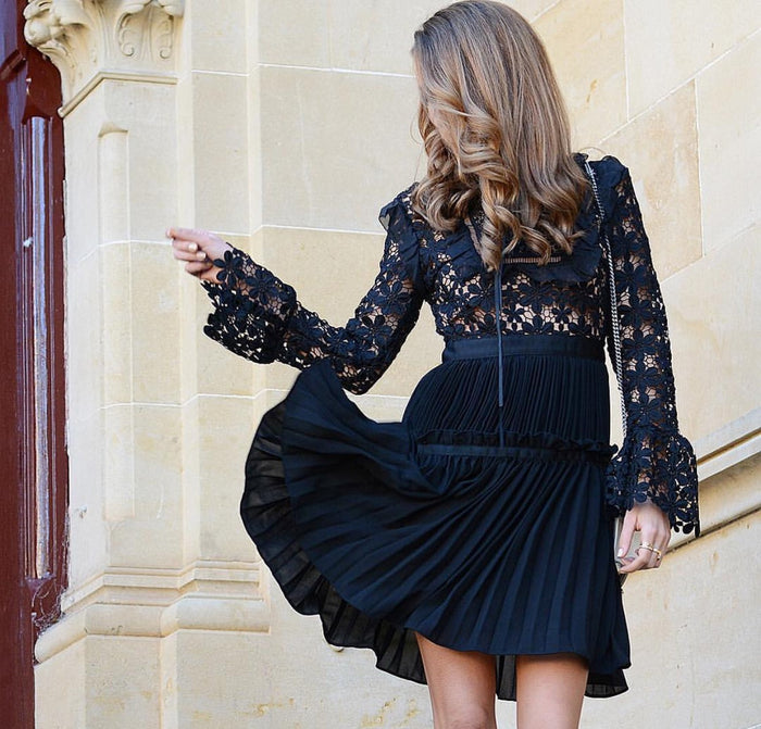 Self Portrait Adeline Black Lace Dress