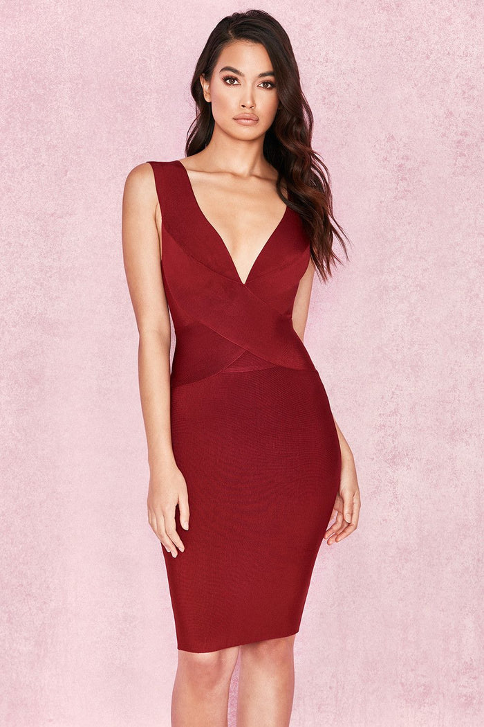 House of CB Crossover Front Bandage in Wine