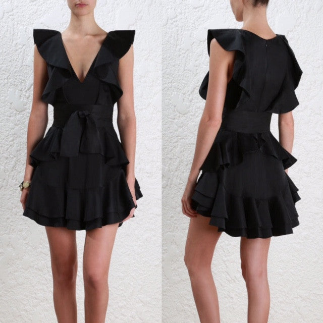 Zimmermann Winsome Flounce Dress Black